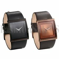 Men's Simple Square Dial Black Leather Band Watch Quartz Analog Wristwatches New