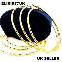 UK BIG CIRCLE EXTRA LARGE SILVER GOLD HOOP EARRINGS LADIE STUD WOMEN CREOLE GIFT