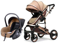 Kombi Kinderwagen 3in1 Alu Babywanne Buggy Autositz faltbar 0-15kg Khaki Gold