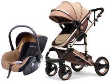 Kombi Kinderwagen 3in1 Babywanne Buggy Autositz faltbar 0-15 Khaki Gold Casiloo®