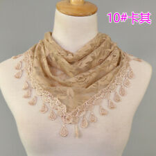 Women Lace Fringed Flower Scarf Triangle Hijab Shawl Ladies Scarves Stole Wrap