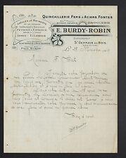 """SAINT-GERMAIN-du-BOIS (71) QUINCAILLERIE DROGUERIE """"Eugene BURDY & ROBIN"""" 1910"""