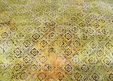 Mustard Yellow Floral Lattice Tonga Batik Fabric - Timeless Treasures - BTY