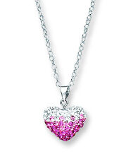 Silver Crystal Heart Pendant Necklace 925 hallmark