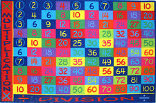 5x8 Area Rug Educational Kids Division Math Multiplication School Time New