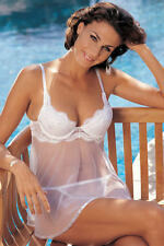 Shirley of Hollywood White Baby Doll with G-String Size Large
