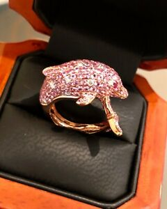 Dolphin Ring 18K Rose Gold Diamonds & Pink Sapphires ( 3.93 Carats )