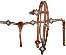 Showman TURQUOISE Stone Leather Bridle, Breastcollar & Reins Set! NEW HORSE TACK