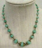 "CZECH Victorian Green Peking Glass 17"" Necklace ~ UNIQUE!"
