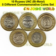 Very Rare 5 Different Bi-Metallic 10 Rupees Commemorative UNC Bi-Metal Coin Set