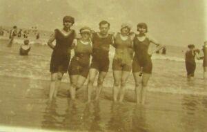 1920s Man 4 Women SWIMSUIT Fashion Swim Cap RPPC Photo Postcard Sepia