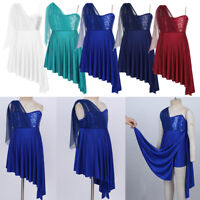 Girls Lyrical Dance Dress Sequins Irregular Hem Dancewear Contemporary Costume