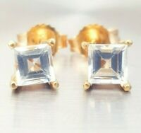 Genuine Natural White Sapphire 14K Yellow Solid Gold Stud Earrings Diamond Alter