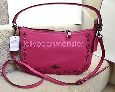COACH 37711 Chelsea Floral Rivets Leather Shoulder Crossbody Bag Dahlia Pink New