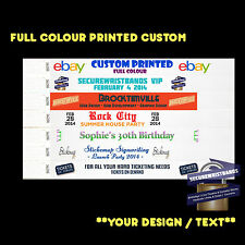 500 x Tyvek, Party, Event, ID CUSTOM Full Colour Wristbands *Your Text Here*