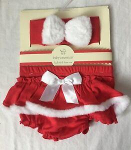 Baby Essentials Headband and Diaper Cover Red w White Fur Trim Santa Christmas