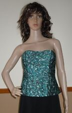 "WHITE HOUSE BLACK MARKET ""Flutter"" Teal Butterfly Pleated Bustier Size 0 NWT $94"