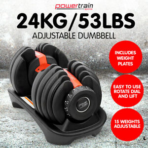 POWERTRAIN 24kg ADJUSTABLE DUMBBELL HOME GYM EXERCISE WEIGHTS FREE WORKOUT