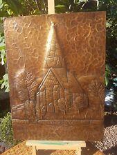 More details for voss kyrkje norway church scene vintage copper plaque by k.j. lovreth ???