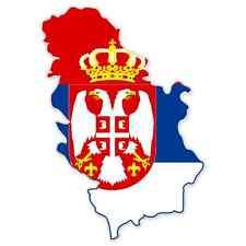 "Serbia with Kosovo Map Flag car bumper sticker 5"" x 3"""