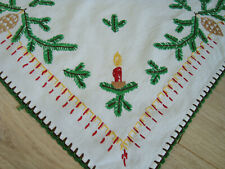 Vintage Christmas Xmas Hand – embroidered Tablecloth Table runner