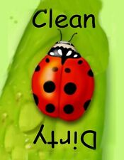 METAL DISHWASHER MAGNET Image Of Ladybug Clean Dirty Dishes Kitchen MAGNET