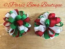 """3"""" Christmas Puff Pom-Pom Hair Bow  Pig-tail Clips Set Of 2 Infant Baby Girl Red"""