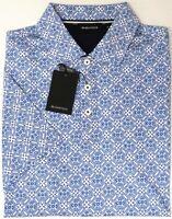NEW $129 Bugatchi Short Sleeve Polo Shirt Mens Sapphire Blue Cotton Geometric