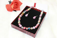 Mix Natural Stones & 925 Sterling Silver necklace & earrings Gift Boxed set
