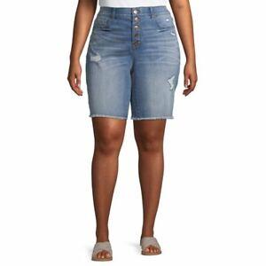 Terra & Sky Bermuda Jean Shorts 5 Button Fly Slimming Panel Light Wash 22W