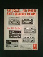 1966 Amt Slot Car Model Toy Memorabilia Promo Kits~Lotus-30~Ford~Gt Promo Art Ad