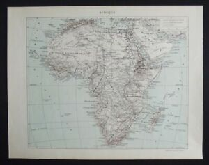 Vintage Map: Africa, Aristide Quillet French Encyclopedia, 1930s, Colour