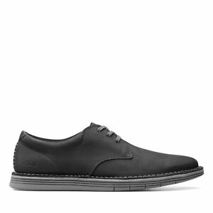 Clarks Mens Forge Vibe Black Leather Casual Oxford Shoes