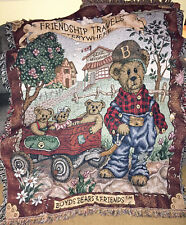 Boyds Bears Bear Express Friendship Travels Everywhere Tapestry Afghan Throw