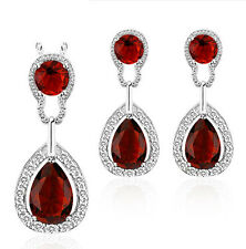 Vintage Luxury Teardrop Jewellery Set Ruby Red Drop Stud Earrings Necklace S649