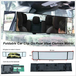 Car SUV Truck Clip On Rear View Wide-angle Lens Convex Mirror Foldable Universal