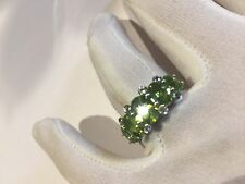 Vintage Genuine Faceted Green Peridot 925 Sterling Silver Ring