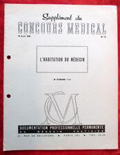 Concours Médical 18-04/1959 - N°16 - L' HABITATION DU MEDECIN.