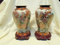 Pair of Asian Satsuma Style Vases with Moriage Detailing