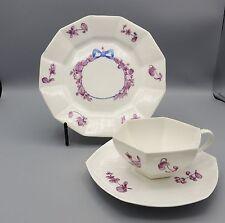 Antique La Seynie Trio Bone China P+P France Pink Floral Blue Bow Sweet