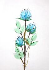 Glass Object Ornament Blue Rose Living Room Decoration Fantastic Gift Present