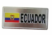 ECUADOR COUNTRY FLAG-SILVER LICENSED STICKER FLAG PLATE..SIZE: 6 X 3 INCH