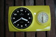 Junghans electronic ATO-MAT Küchenuhr Kurzzeitmesser gelb Porzellan  70er Jahre