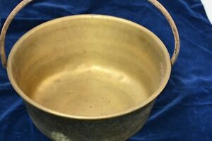 Large Old Brass Cooking Pot w Steel handle