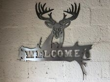 Welcome with Buck Deer Wall Art Sign Bare Metal