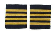 More details for  epaulette epaulettes airline 4 x 1/4 inch gold bars on navy blue r1687