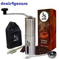 Premium Quality Manual Coffee Grinder with Bur Mill Brush Spoon Bag
