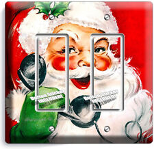 RETRO CHRISTMAS SANTA CLAUS PHONE DOUBLE GFI LIGHT SWITCH WALL PLATE COVER DECOR