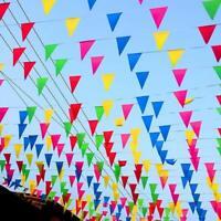 100 M Triangle Drapeau Bruant Bannière Pennant Festival De Mariage Partie Décor