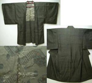 Männer Kimono & Haori Seide Gewebt mit Innenfutter aus Kyoto Japan MA0730E1h